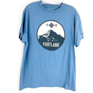 Columbia Portland Mount Hood Tee Shirt in Blue Size L